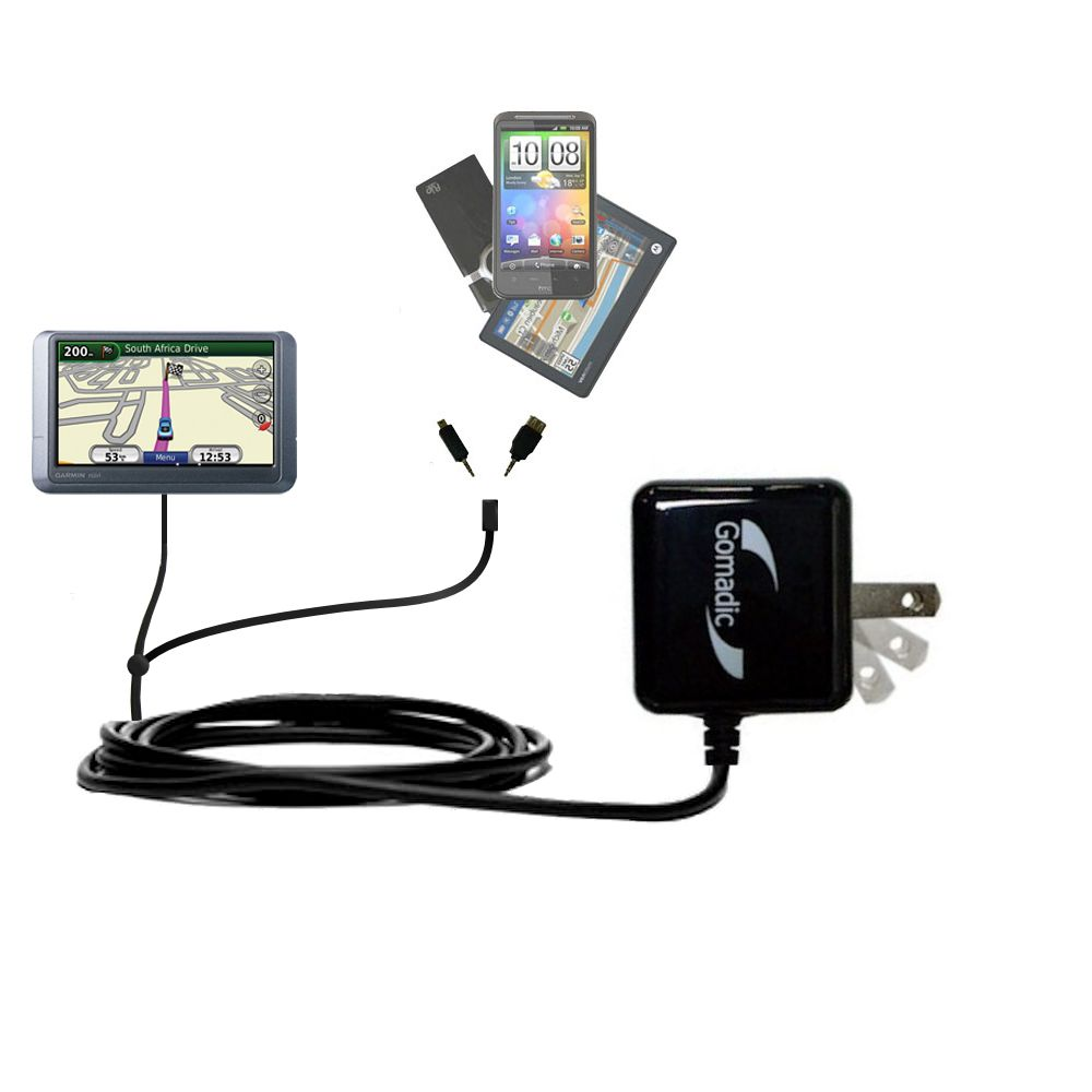 Double Wall Home Charger with tips including compatible with the Garmin Nuvi 215