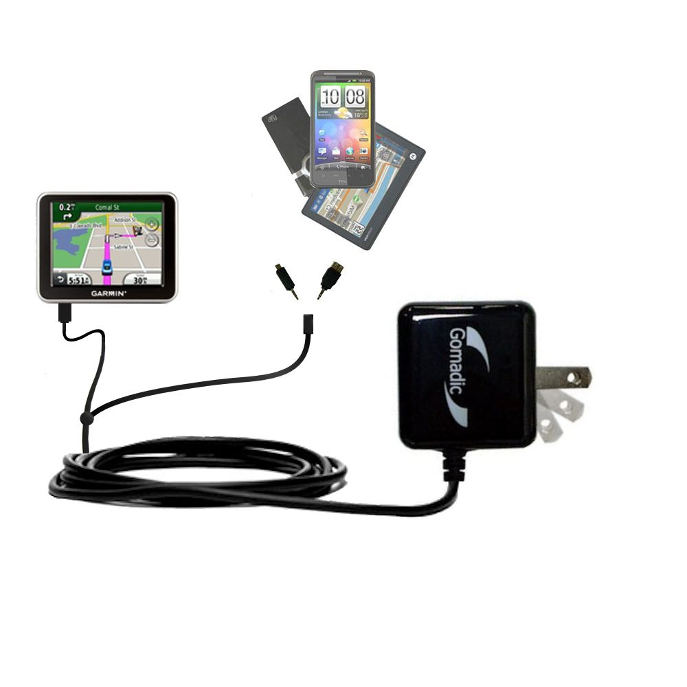 Double Wall Home Charger with tips including compatible with the Garmin Nuvi 2200 2240 2250