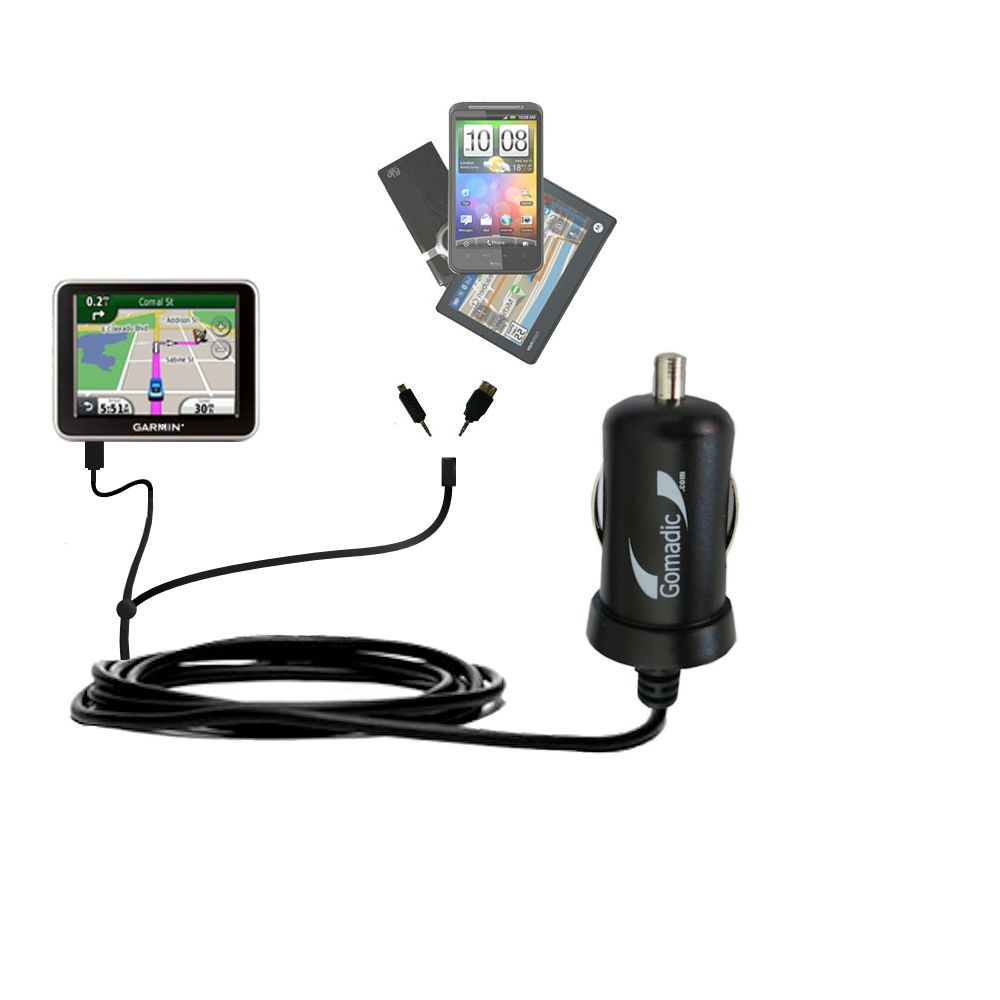 mini Double Car Charger with tips including compatible with the Garmin Nuvi 2240