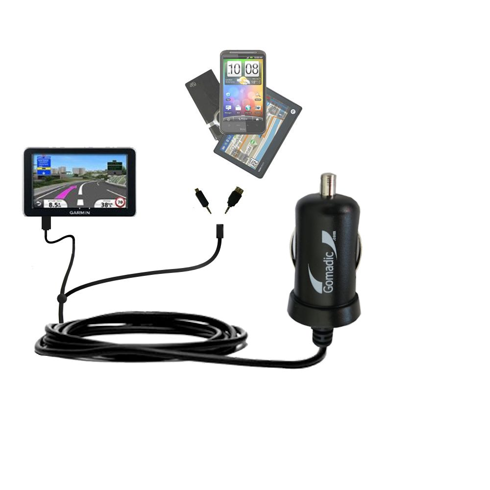 mini Double Car Charger with tips including compatible with the Garmin Nuvi 2340 2350 2360 2360LMT 2370 2370LT
