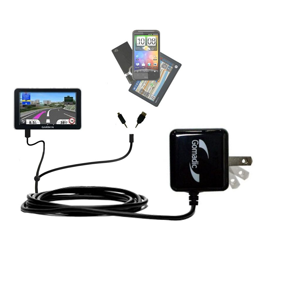 Double Wall Home Charger with tips including compatible with the Garmin Nuvi 2340 2350 2360 2360LMT 2370 2370LT