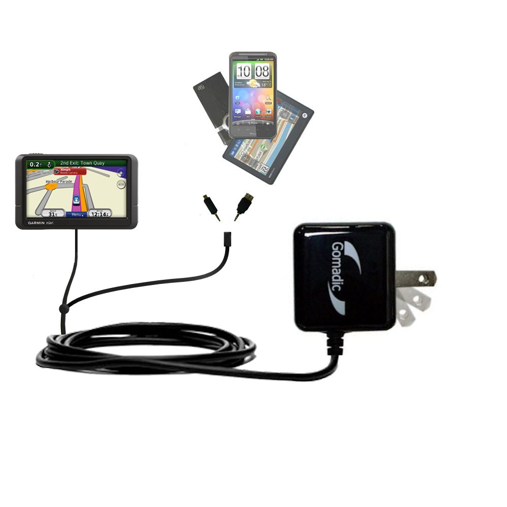 Double Wall Home Charger with tips including compatible with the Garmin Nuvi 245 245T 245WT