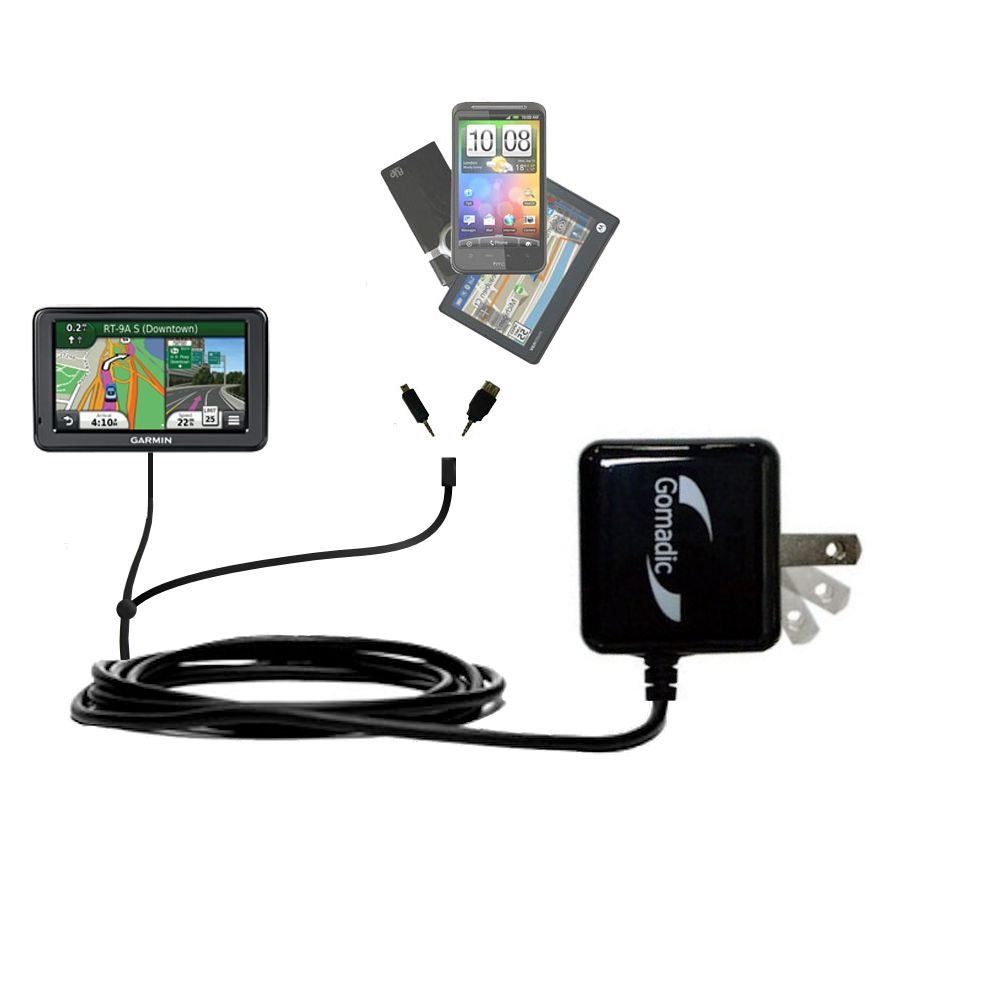 Double Wall Home Charger with tips including compatible with the Garmin Nuvi 2455 2475LT 2495LMT 2455LMT