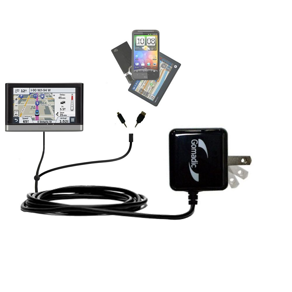 Double Wall Home Charger with tips including compatible with the Garmin nuvi 2457 / 2497 LMT
