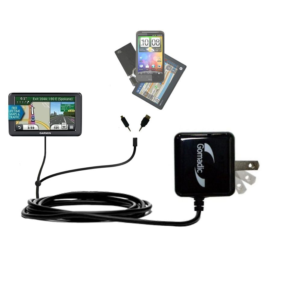 Double Wall Home Charger with tips including compatible with the Garmin Nuvi 245T