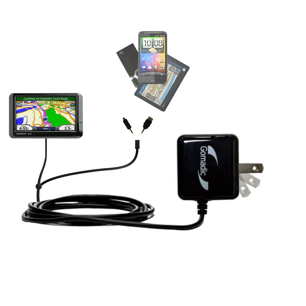 Double Wall Home Charger with tips including compatible with the Garmin Nuvi 255