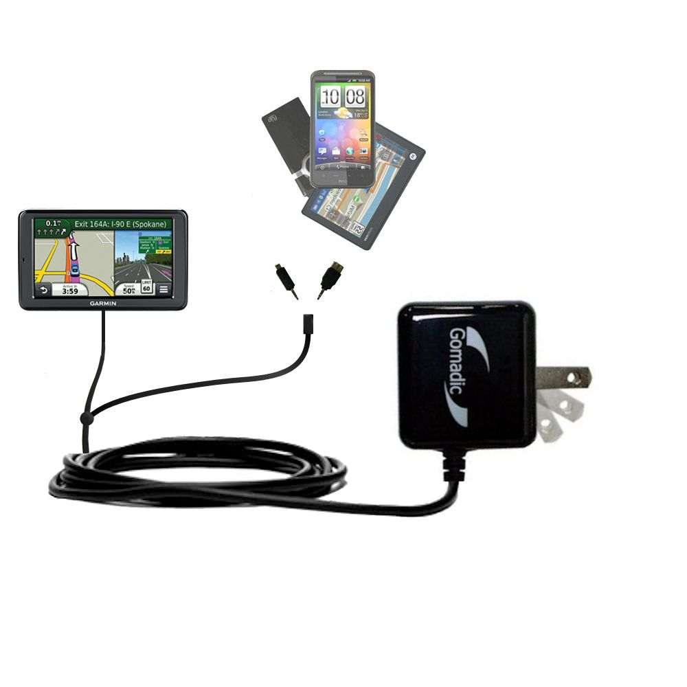 Double Wall Home Charger with tips including compatible with the Garmin Nuvi 2555 2595 LMT