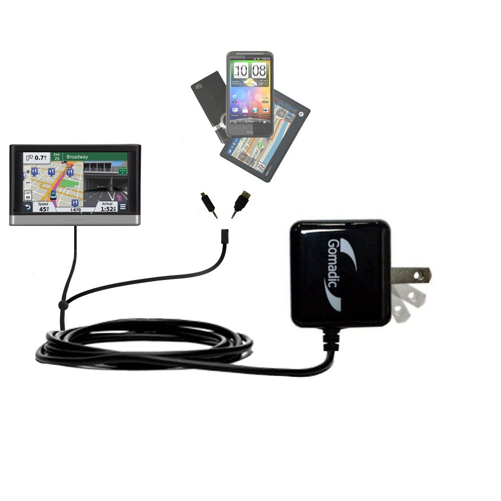Double Wall Home Charger with tips including compatible with the Garmin nuvi 2557 / 2577 / 2597 LMT