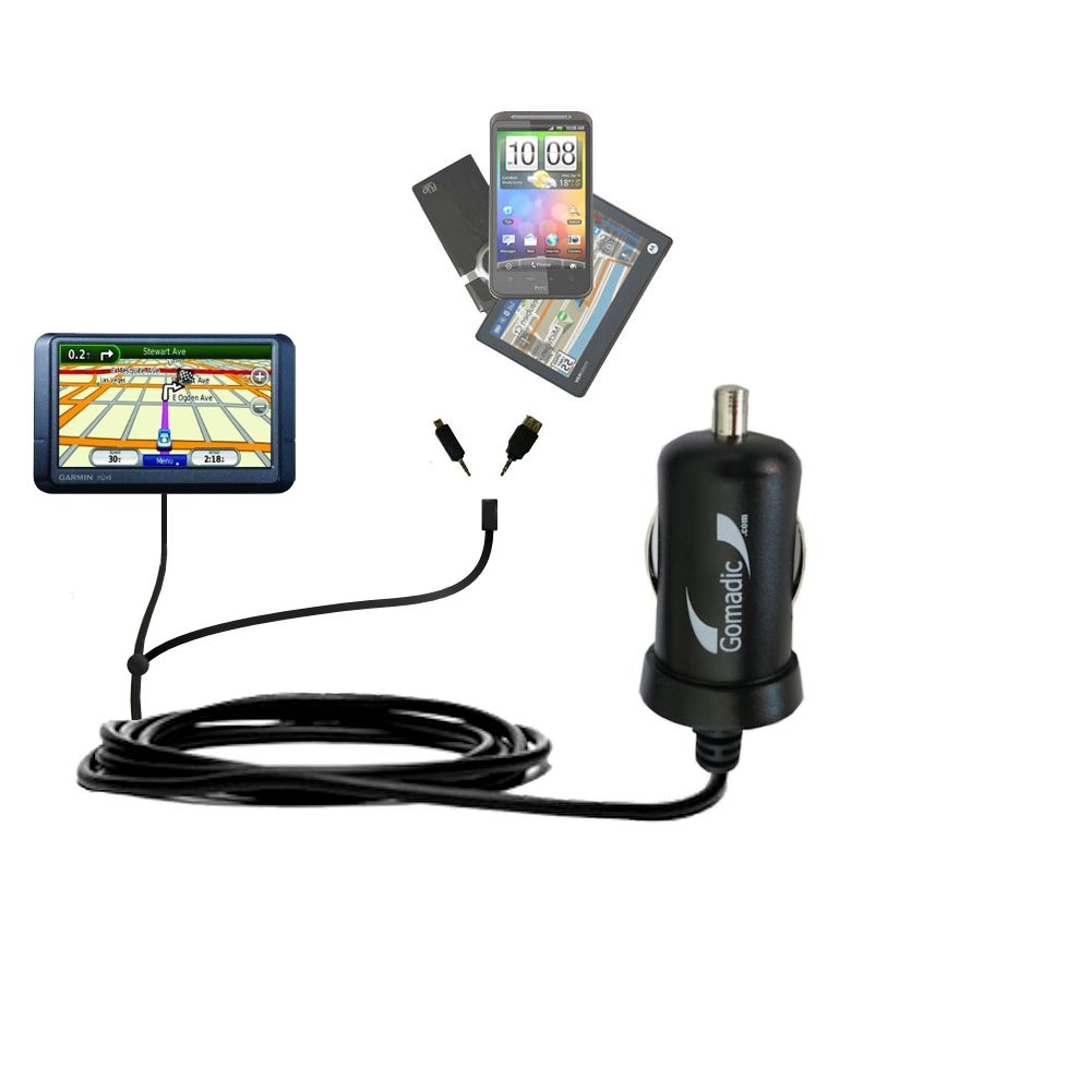 mini Double Car Charger with tips including compatible with the Garmin Nuvi 255W 255WT 255