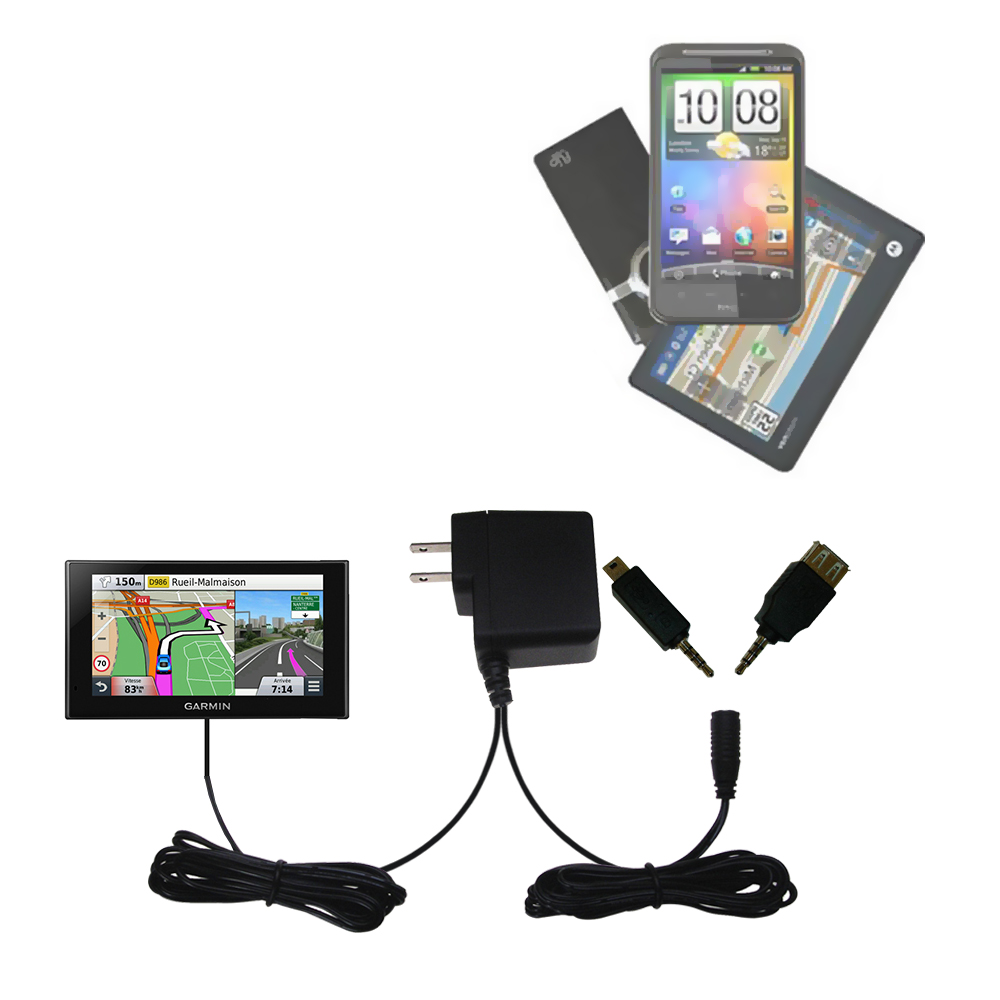 Double Wall Home Charger with tips including compatible with the Garmin nuvi 2669 / 2689 LMT