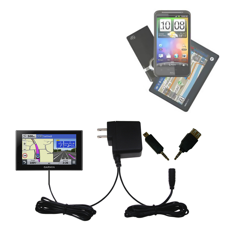 Double Wall Home Charger with tips including compatible with the Garmin nuvi 2789 LMT