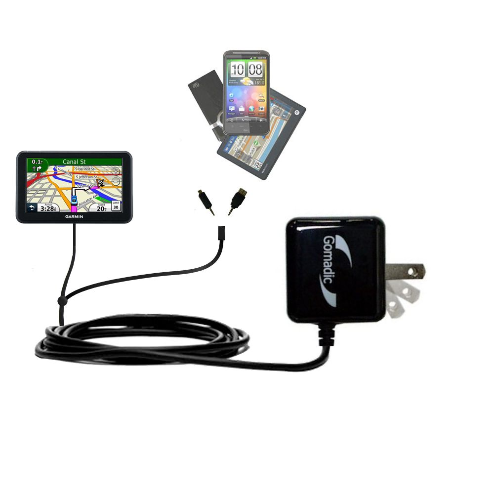 Double Wall Home Charger with tips including compatible with the Garmin Nuvi 3450 3450LM