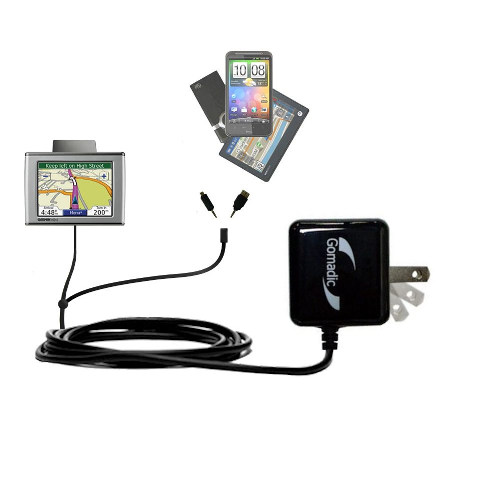 Double Wall Home Charger with tips including compatible with the Garmin Nuvi 370