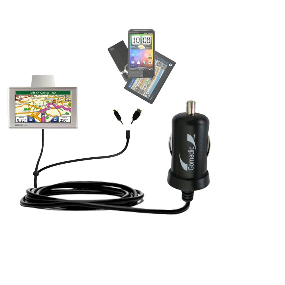 mini Double Car Charger with tips including compatible with the Garmin Nuvi 670