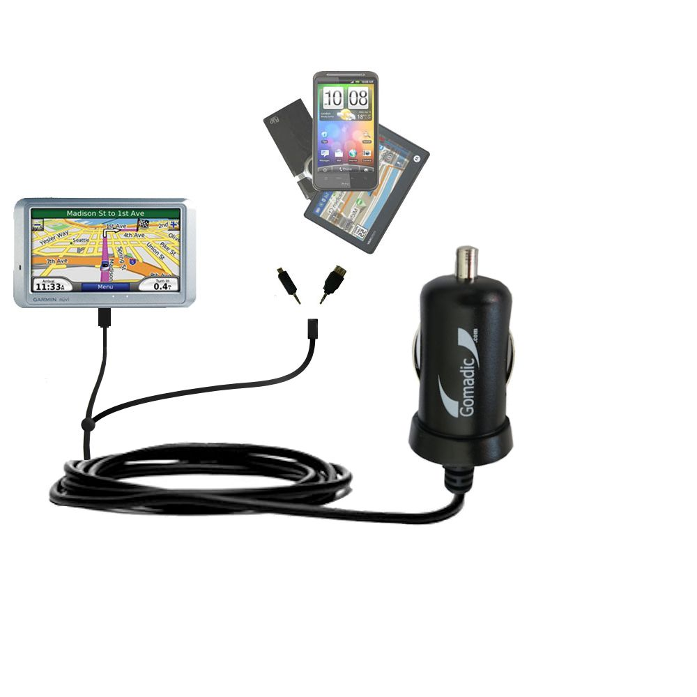 mini Double Car Charger with tips including compatible with the Garmin Nuvi 710