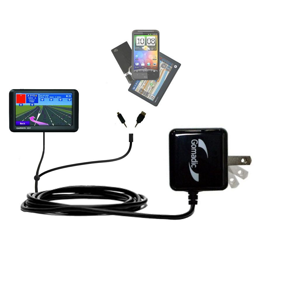 Double Wall Home Charger with tips including compatible with the Garmin nuvi 765