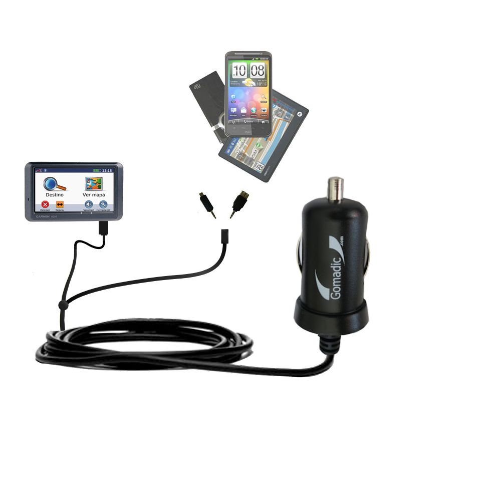 mini Double Car Charger with tips including compatible with the Garmin Nuvi 770