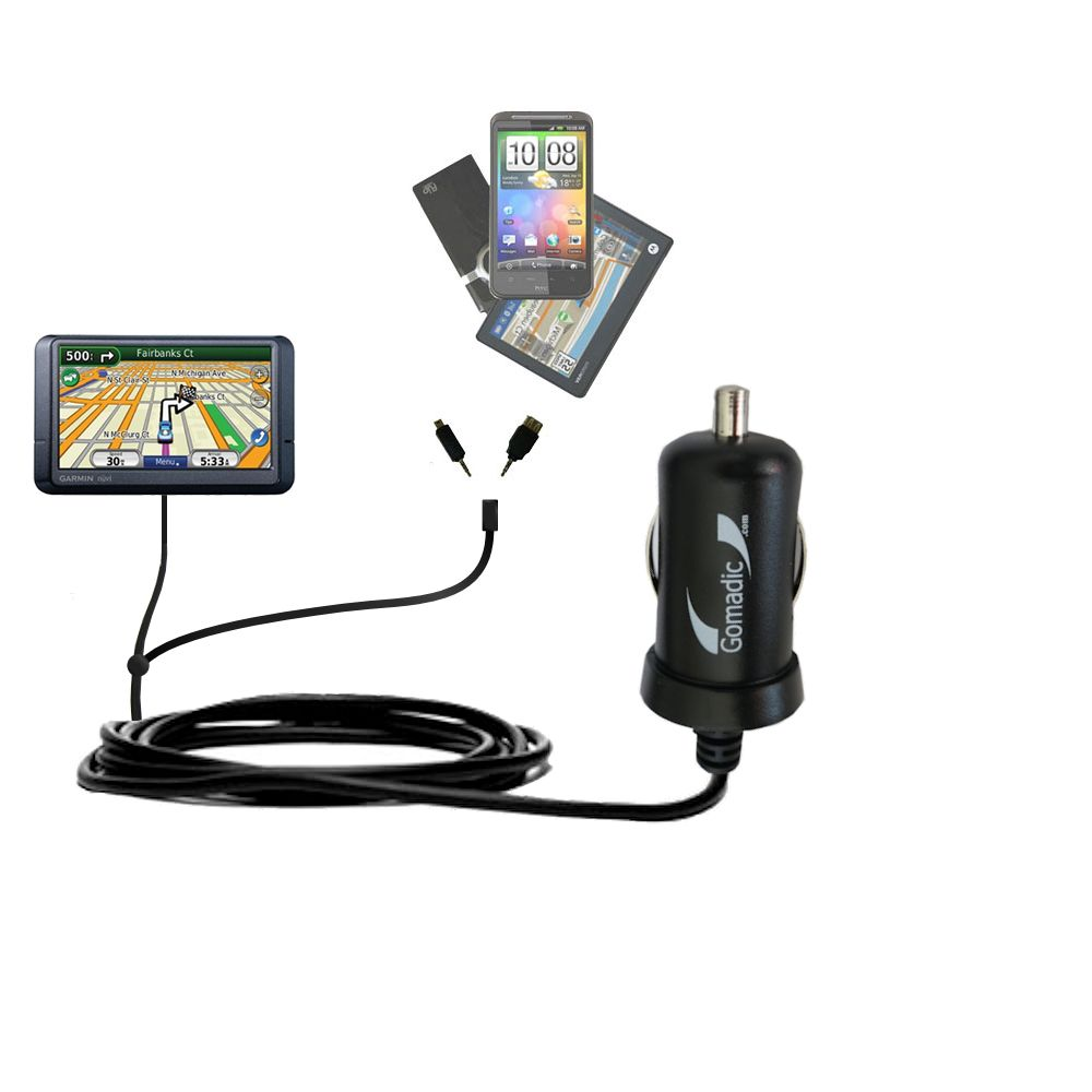 mini Double Car Charger with tips including compatible with the Garmin Nuvi 780