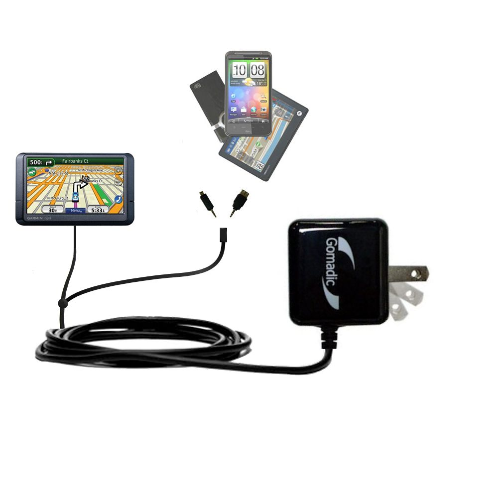 Double Wall Home Charger with tips including compatible with the Garmin Nuvi 780