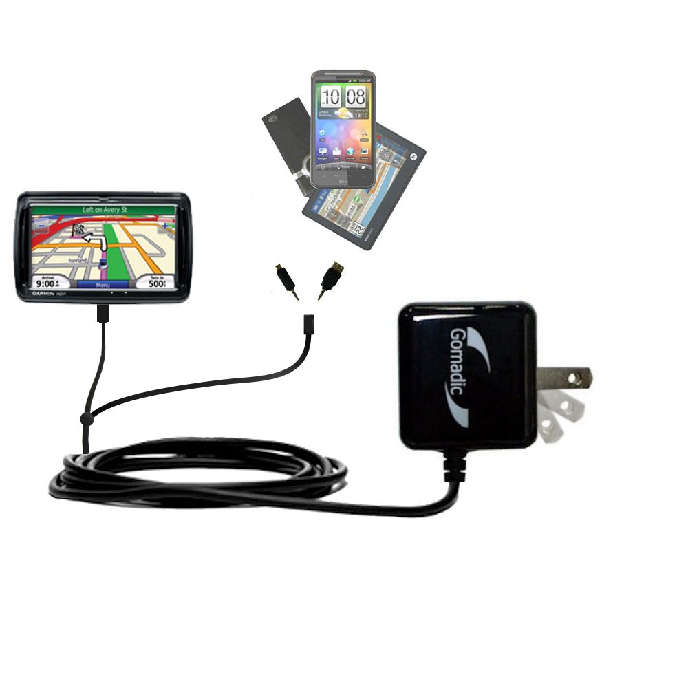 Double Wall Home Charger with tips including compatible with the Garmin Nuvi 850