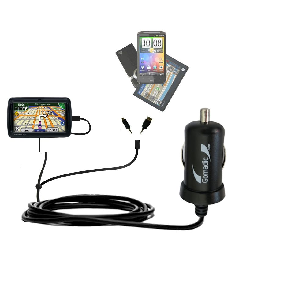mini Double Car Charger with tips including compatible with the Garmin Nuvi 855