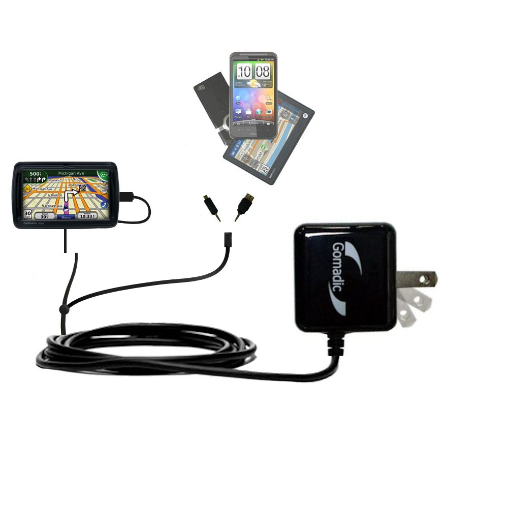 Double Wall Home Charger with tips including compatible with the Garmin Nuvi 855