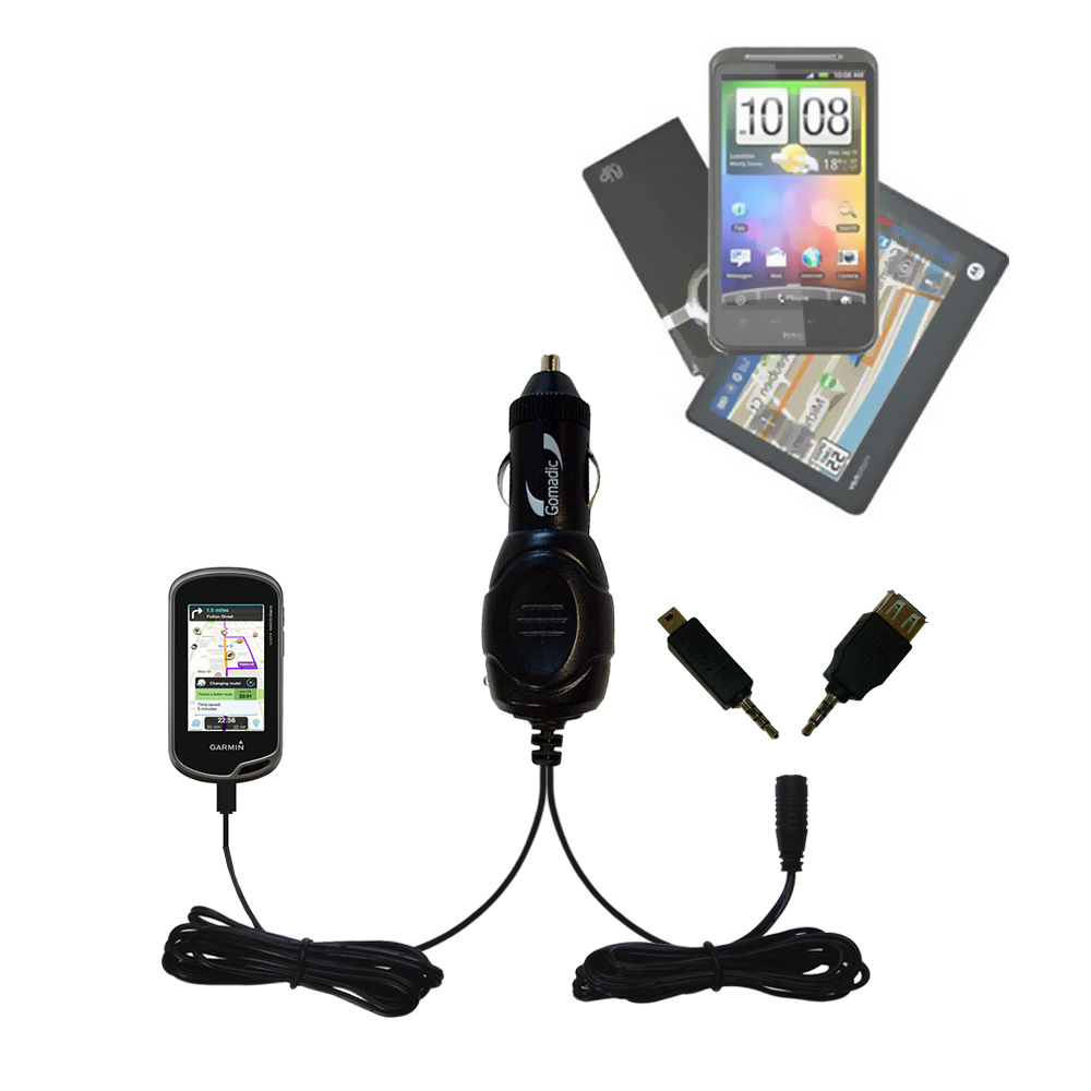 mini Double Car Charger with tips including compatible with the Garmin Oregon 600 / 650 / 650t