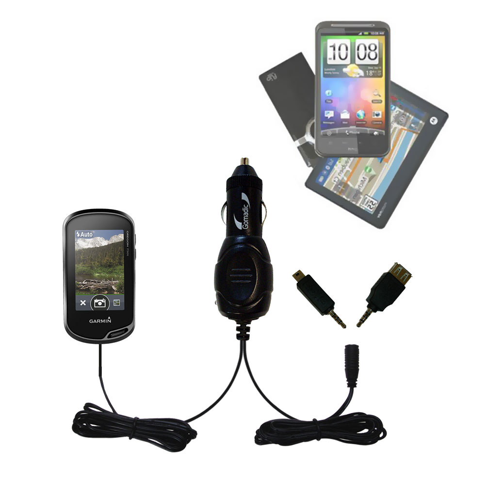 mini Double Car Charger with tips including compatible with the Garmin Oregon 750 / 750t