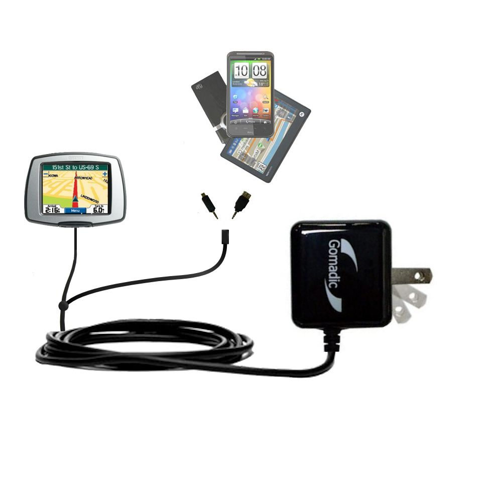 Gomadic Double Wall AC Home Charger suitable for the Garmin StreetPilot C340 - Charge up to 2 devices at the same time with TipExchange Technology