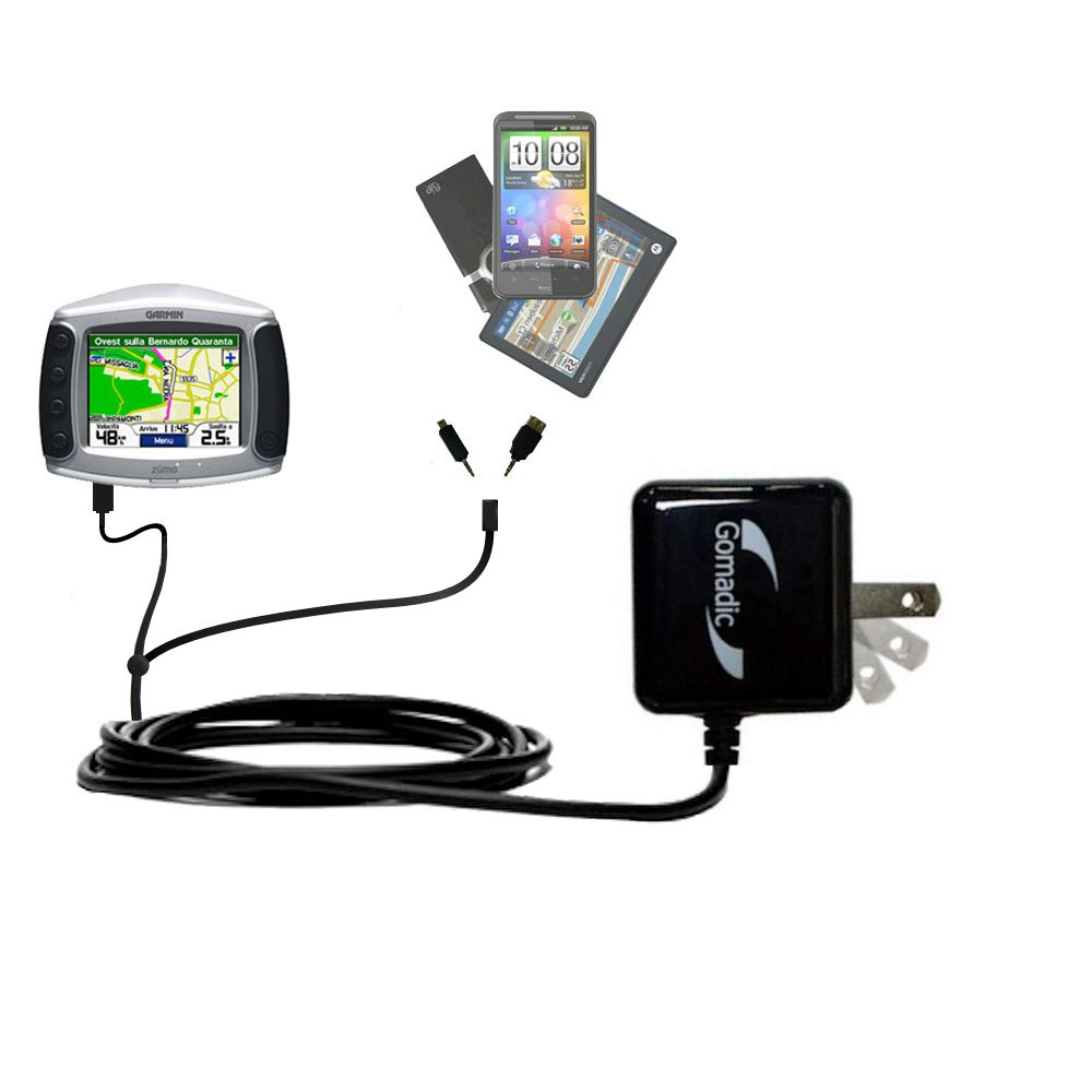 Double Wall Home Charger with tips including compatible with the Garmin Zumo 500