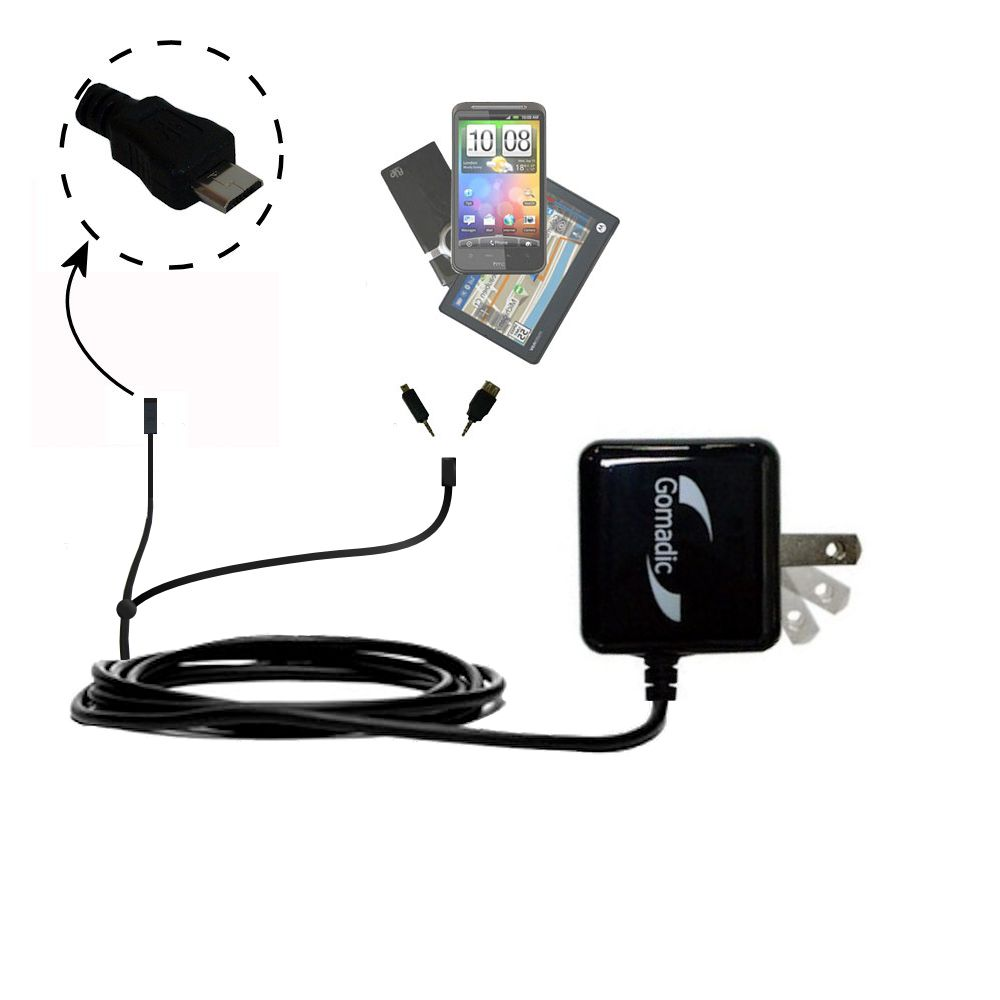 Double Wall Home Charger with tips including compatible with the Gomadic micro USB Devices