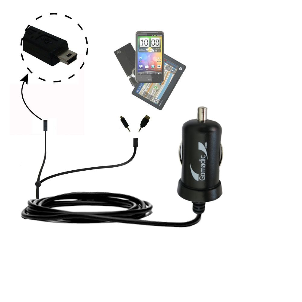 mini Double Car Charger with tips including compatible with the Gomadic mini USB Devices