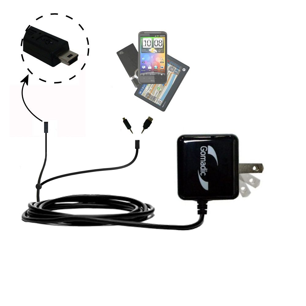 Double Wall Home Charger with tips including compatible with the Gomadic mini USB Devices