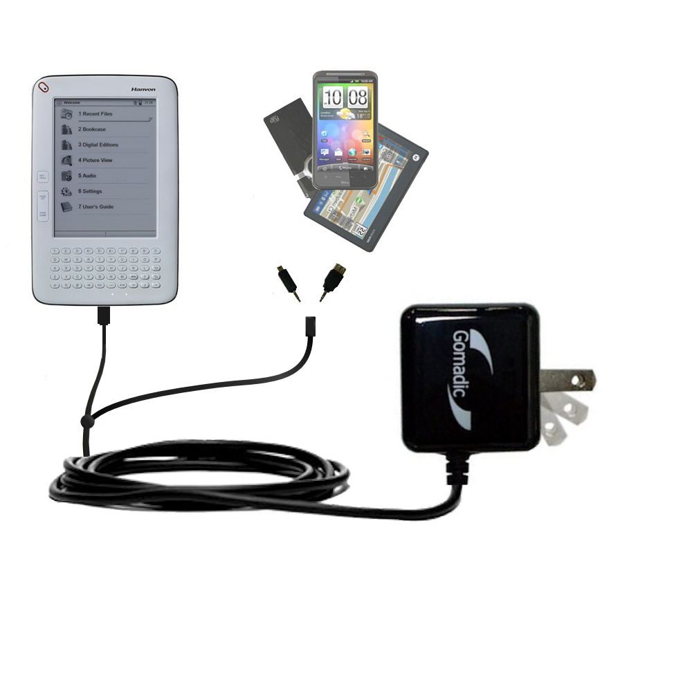 Double Wall Home Charger with tips including compatible with the Hanvon WISEreader B630
