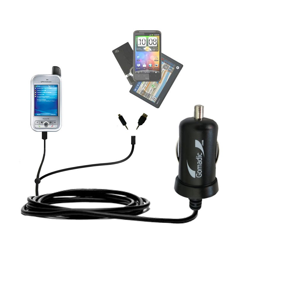 mini Double Car Charger with tips including compatible with the HTC 6700Q Qwest