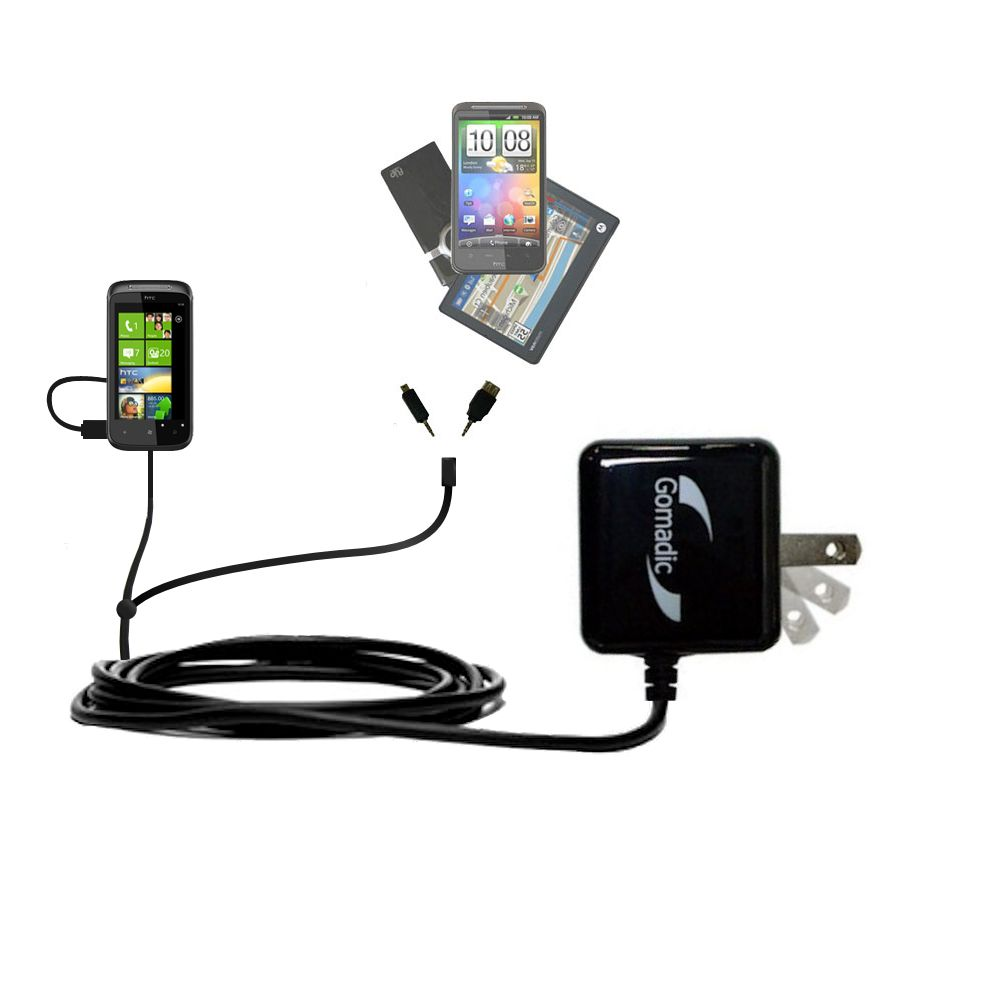 Double Wall Home Charger with tips including compatible with the HTC 7 Trophy
