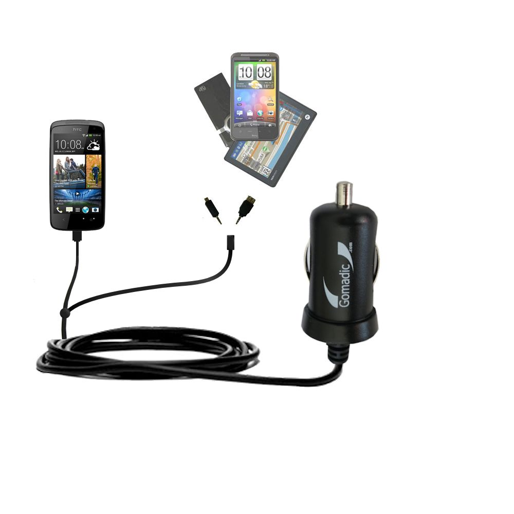 mini Double Car Charger with tips including compatible with the HTC Desire 500