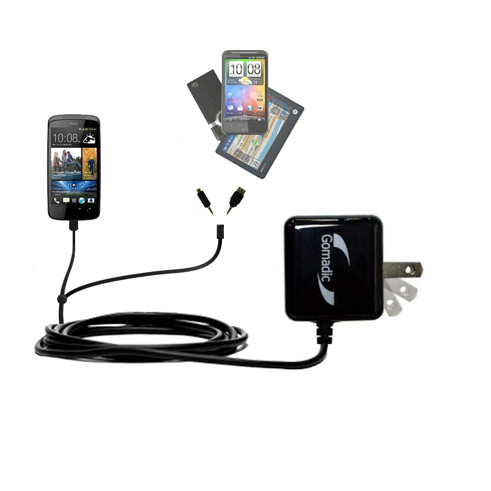 Double Wall Home Charger with tips including compatible with the HTC Desire 500