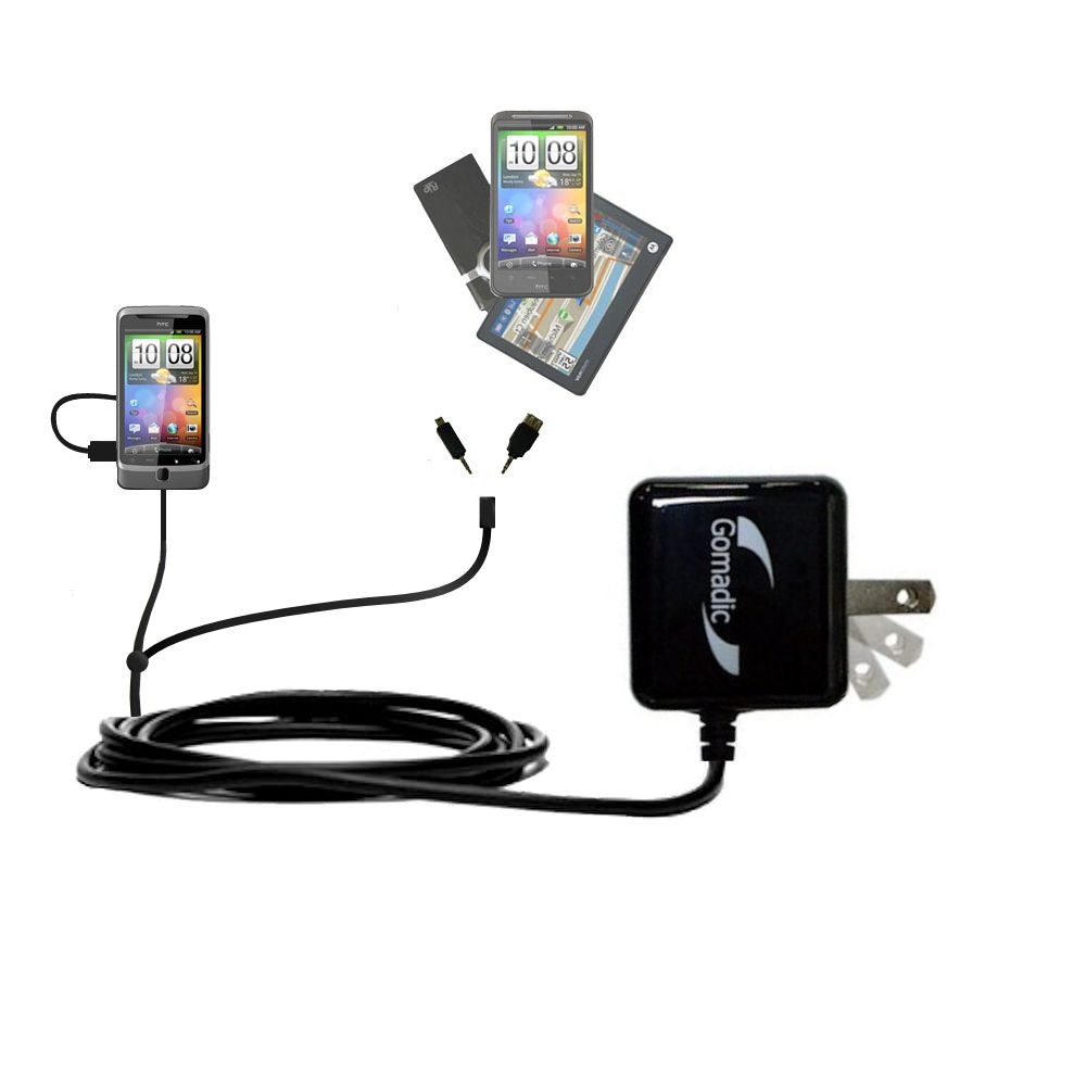 Double Wall Home Charger with tips including compatible with the HTC Desire Z