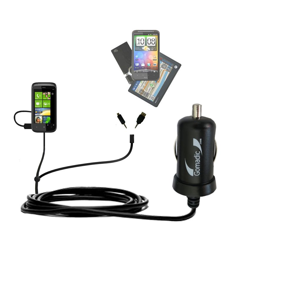 mini Double Car Charger with tips including compatible with the HTC Eternity