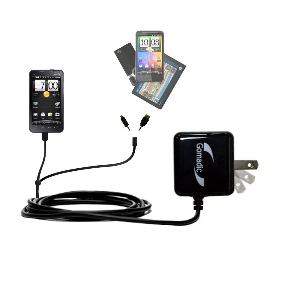 Double Wall Home Charger with tips including compatible with the HTC EVO 4G
