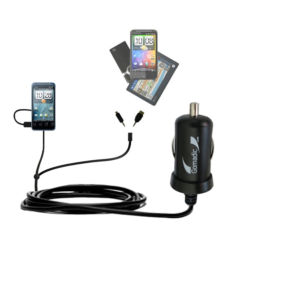 mini Double Car Charger with tips including compatible with the HTC Evo Shift 4G
