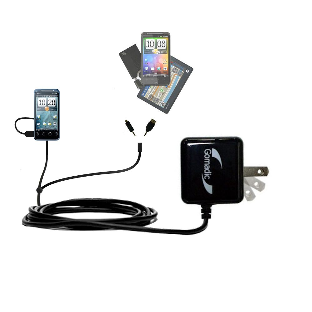 Double Wall Home Charger with tips including compatible with the HTC Evo Shift 4G