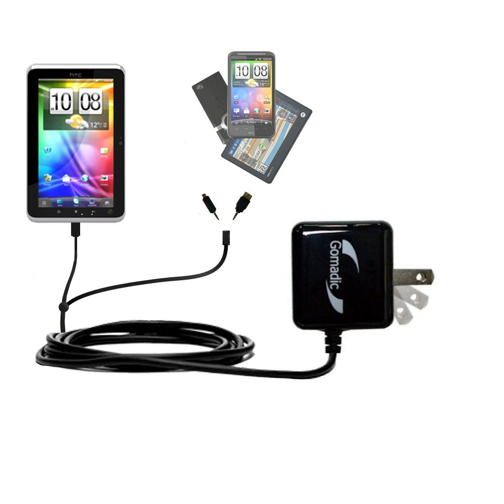 Double Wall Home Charger with tips including compatible with the HTC Flyer