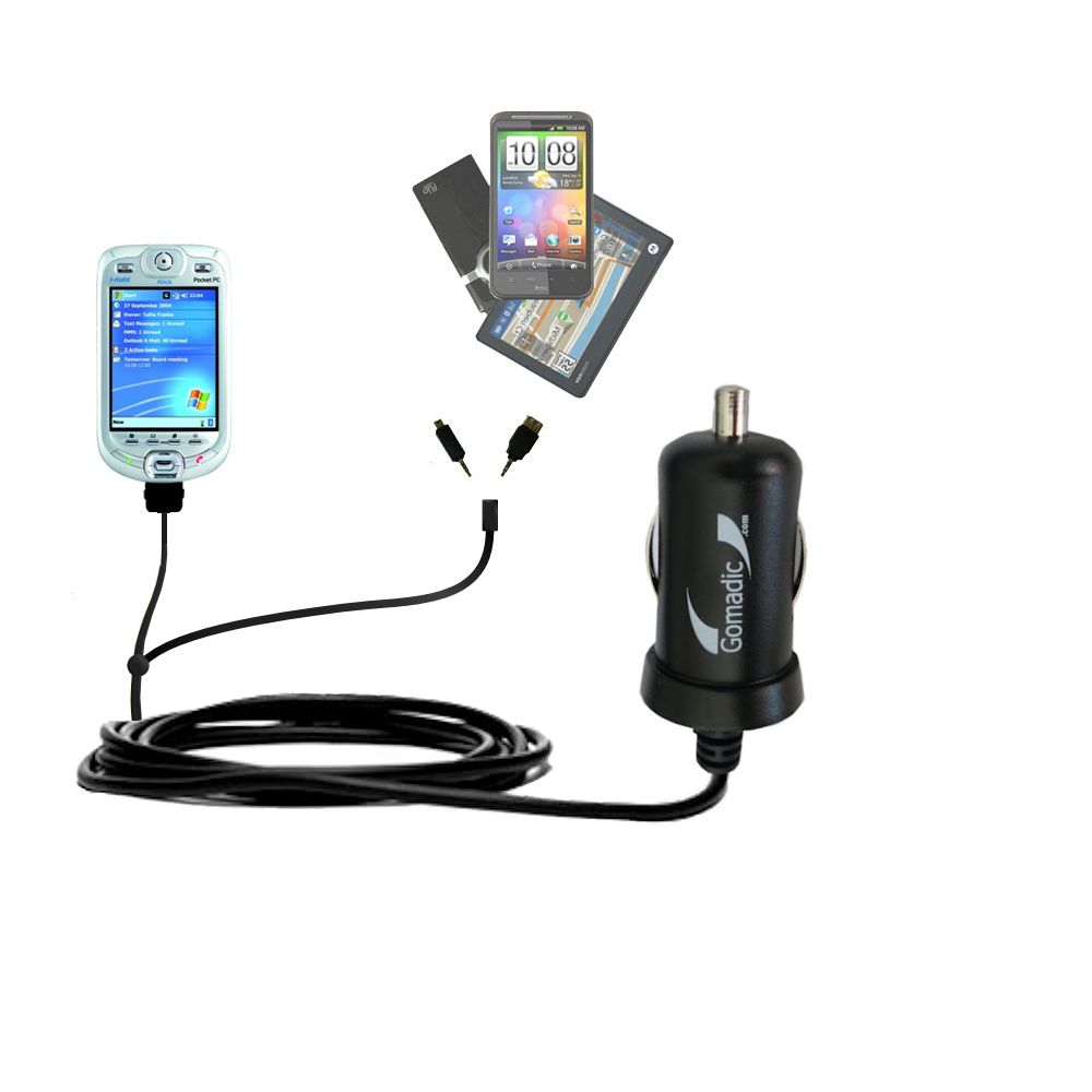 mini Double Car Charger with tips including compatible with the HTC Harrier Smartphone
