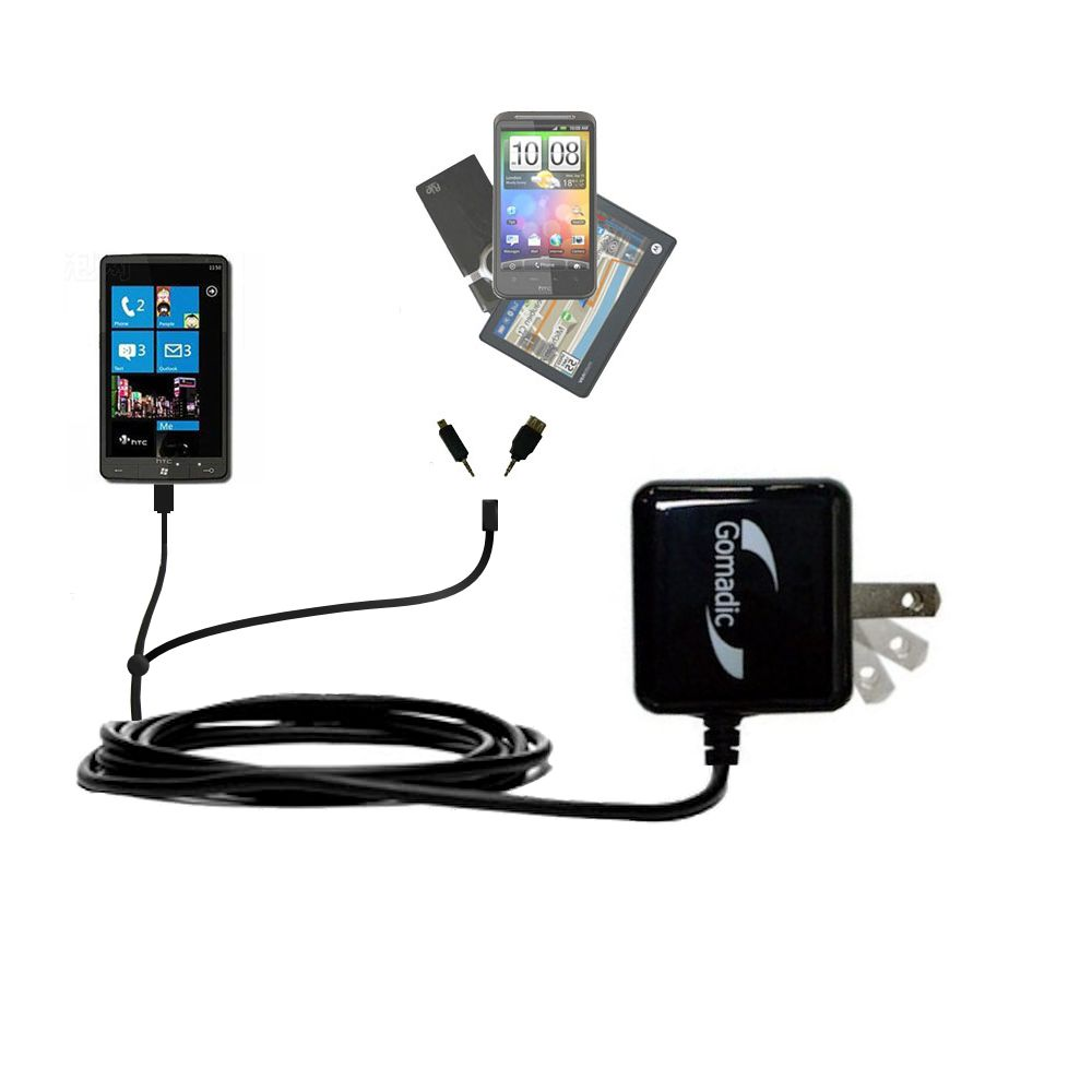 Double Wall Home Charger with tips including compatible with the HTC HD7S