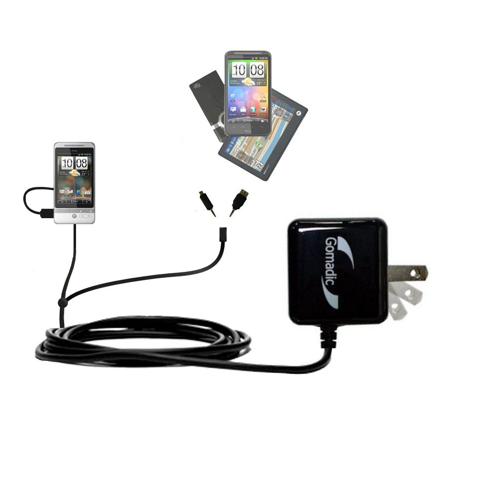 Double Wall Home Charger with tips including compatible with the HTC Hero S