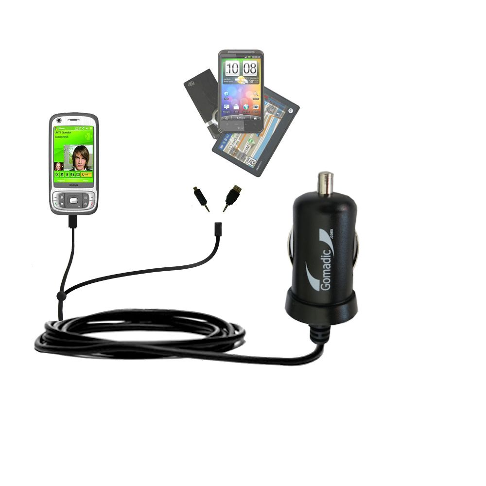 mini Double Car Charger with tips including compatible with the HTC Kaiser