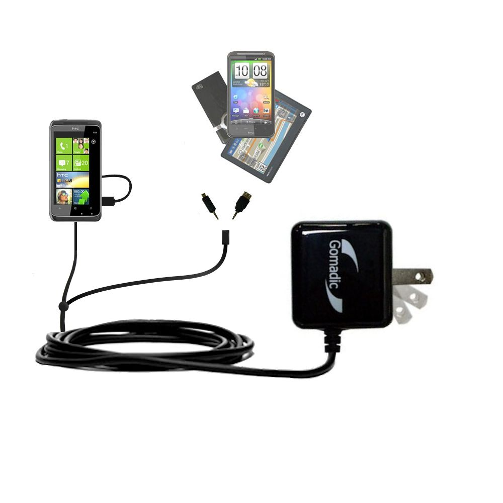 Double Wall Home Charger with tips including compatible with the HTC Mazaa