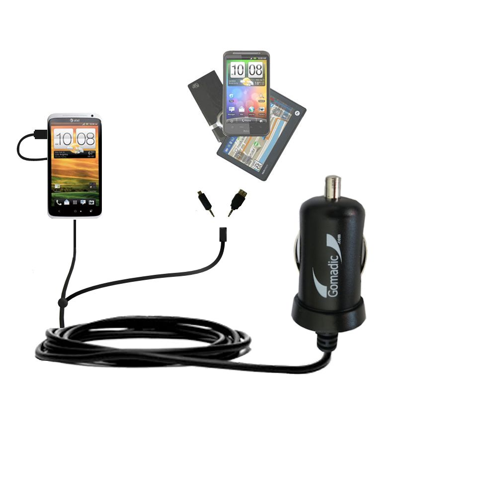 mini Double Car Charger with tips including compatible with the HTC One X